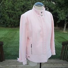 WOMEN'S CHICO'S LIGHT PINK COAT JACKET SIZE 2 POLYESTER RAYON BLEND