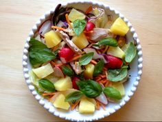 Chicken, pineapple and basil salad