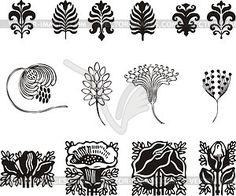 Art nouveau simple floral ornaments - vector clipart
