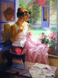 ✿Needlework Near The Window✿ 'Seamstress' ~ Vicente Romero