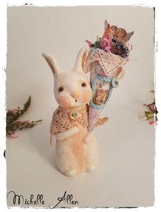 paper clay Primitive folk art white Bunny Rabbit Doll w Tussie Mussie w pink bottle brush tree  by Michelle Allen / Raggedy Pants Designs by RaggedyPantsDesigns on Etsy