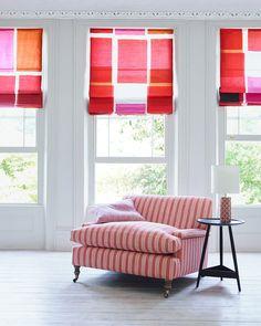 House & Garden Collection handcrafted by Arlo & Jacob | Holmes Snuggler #HouseandGardenxAJ #Snuggler #LoveSeat #Stripes #Orange #HouseandGarden
