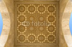 Wall mural detail from the mosque hassan ii in casablanca, morocco - ceiling • PIXERSIZE.com