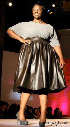 JIBRI Plus Size Faux Leather High Waist Flare Skirt by jibrionline, $180.00
