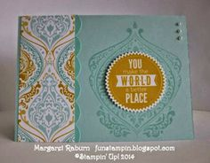 Fun Stampin' with Margaret!  Starburst Framelits, Starburst Sayings, Beautifully Baroque stamp, Tasteful Trim XL Bigz Die, Eastern Elegance ...