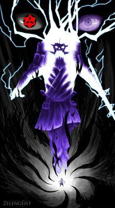 Sasuke entering a downward spiral as he powers up his Susanoo.