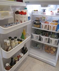Use baskets to declutter your fridge.