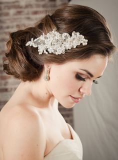 EDEN Hair Accessories Bridal Comb Lace Wedding Accessory-- White Scalloped Lace Beaded Hair Accessory for Wedding from Camilla Christine