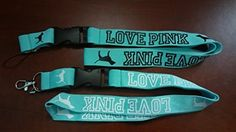 (2) Love Pink Teal Lanyard Keychain Holder