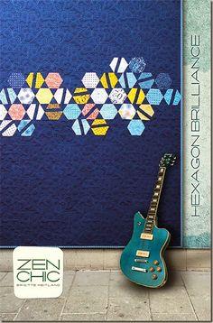 Hexagon Brilliance modern quilt pattern #ZenChic, www.brigitteheitland.de