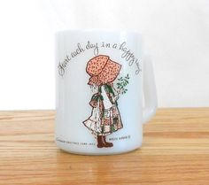 Hey, I found this really awesome Etsy listing at https://www.etsy.com/listing/209172577/vintage-holly-hobbie-mug-milk-glass-milk
