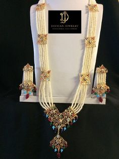 Items similar to Naaz hyderabadi jadau rani haar in navratan with earrings , multicolor , indian jewelry , punjabi jewelry on Etsy Pearl Beads, Pearl Jewelry, Pendant Jewelry, Gold Jewelry, Jewelry Rings, Pakistani Jewelry, Indian Jewelry, Hyderabadi Jewelry, Pearl Necklace Designs