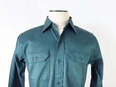Vintage Work Shirt / Men's 1940's Work Shirt / Dark Green / Workwear / Medium / Washington Dee Cee