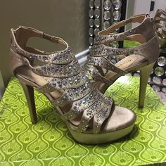 Gianni Bini Heels Gianni Bini Glamazon712 Sierra Tan. Worn once for prom. Box included! Gianni Bini Shoes Heels