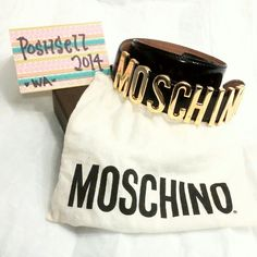 Auth MOSCHINO Logo belt Authentic Moschino Logo belt  Black leather belt with Gold Logo Retail price $375 *Love by Celebrities n Bloggers  *Wardrobe Must Have item Euro sz 38 Flaws on the inner side of belt which shown on pic Comes with dust bag Trade value add $40 Moschino Accessories Belts