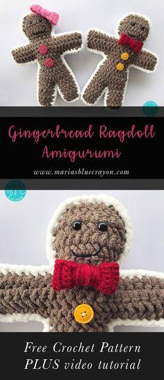 Gingerbread Boy and Girl | Free Crochet Pattern | Gingerbread Man Amigurumi | Ragdoll Style | Christmas Decor | Christmas Gift for Kids