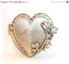 Mother Mom Heart Locket JJ pin brooch Lovely Mothers by dollherup, $18.00