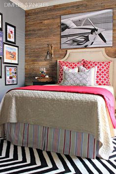 Teen boy's bedroom reveal // wood plank wall // gallery wall // cage light sconces