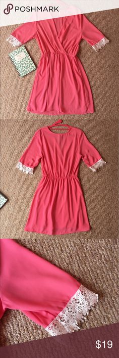 Pink Boutique Dress ONLY WORN ONCE!! In LIKE NEW CONDITION!! Women's size Large! Bought at a boutique in Knoxville, TN. Has white lacy design at end of sleeves & the sleeves are 3/4 length. Brand says Vijo Couture. Perfect end of summer/fall dress! Accepting all reasonable offers! ****NOT H&M - ONLY PUT THAT FOR EXPOSURE!!***** H&M Dresses