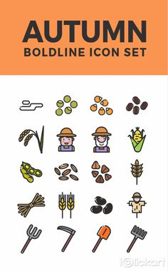 #autumn🍁 #boldline #icon #set #farm #harvest #illustration #stockimages #npine #iclickart #click_your_heart