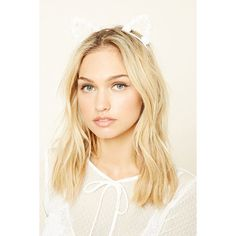 Forever21 Rose Cat Ear Headband ($4.90) ❤ liked on Polyvore featuring accessories, hair accessories, cream, head wrap hair accessories, embellished headbands, rose headband, hair band headband and rose hair accessories