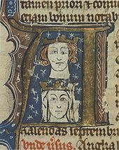 Early fourteenth-century manuscript initial showing Edward and his wife Eleanor. The artist has perhaps tried to depict Edward's blepharoptosis, a trait he inherited from his father.