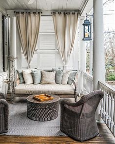 Screened porches enhance your life and add extra living space. See these amazing. Screened porches enhance your life and add extra living space. See these amazing outdoor screened in porch decorating ideas to create your own wonderful outdoor space. Decor, Furniture, Farmhouse Front Porches, House With Porch, Porch Furniture, Outdoor Curtains, Porch Design, Home Decor, Porch