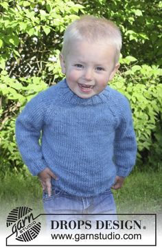 New crochet baby boy sweater drops design Ideas Baby Knitting Patterns, Jumper Knitting Pattern, Jumper Patterns, Knitting For Kids, Baby Patterns, Free Knitting, Crochet Patterns, Drops Design, Raglan Pullover