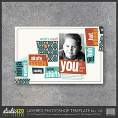 Digital Scrapbook Template No. 132 in both 12x12 AND 8.5x11 spread. Perfect for albums OR wall art.