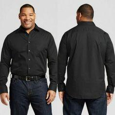 ce73c7ec MERONA The Ultimate Dress Shirt Mens 2XLT Large Tall Black Long Sleeve  Classic #Merona Mens