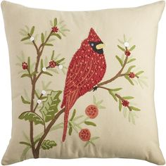 Embroidered Cardinal Pillow | Pier 1 Imports