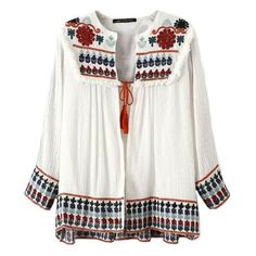 Kazakhstan Folk Floral Embroidered Tie Blouse ($42) ❤ liked on Polyvore featuring tops, blouses, shirts, blusas, white, panel shirt, round top, white blouse, shirts & tops and tie shirt