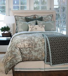 Vera Collection by Eastern Accents~Vera is an enchanting medley of cool blue, espresso, and ivory hues. A scenic toile fabric and geometric patterns strike a perfect balance with the bed skirt. An inverted pleat curtain panel and hand-painted pillows highlight the collection's Asian-inspired look. Starting at $1100 for a set. Sets include duvet cover (no filler) Euro sham(s), standard or king sham(s) and a bolster pillow. pillow inserts included. Small $ for down.