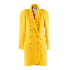 1990s Chanel Boutique Yellow Double Breasted Wool Coat | From a collection of rare vintage coats and outerwear at https://www.1stdibs.com/fashion/clothing/coats-outerwear/