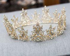 Crown Aesthetic, Queen Aesthetic, Gold Aesthetic, Bridal Crown, Bridal Tiara, Hair Jewelry, Wedding Jewelry, Jewellery, Crystal Crown