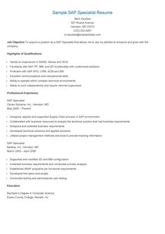sample sap specialist resume - Sample Sap Resume