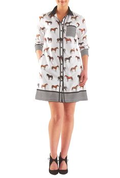 """eShakti Women's Horse print crepe boyfriend shirtdress M-8 Short White/black multi. Front button closure, Contrast spread collar, Long sleeves, single-button cuffs, Side seam pockets, Short length, Lined in polyester moss crepe, Polyester, woven crepe, digital print, soft drape, no stretch, lightweight, Machine wash cold, Model is wearing our size M/8, cut for her height of 5'11"""". Comes in Petites, Misses and Plus sizes for all heights. All sizes 0-36W available in Short (5'3'' and…"""