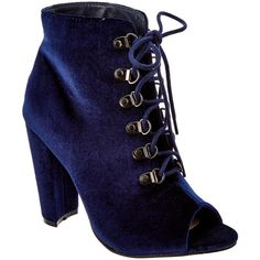 Catherine Catherine Malandrino Elnathan Bootie ($23) ❤ liked on Polyvore featuring shoes, boots, ankle booties, blue, velvet booties, lace up booties, blue ankle boots, blue velvet booties and faux suede lace-up booties