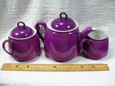 Sale Unusual Color Tea Set Purpley Fuschia Teapot Sugar Creamer Germany | eBay