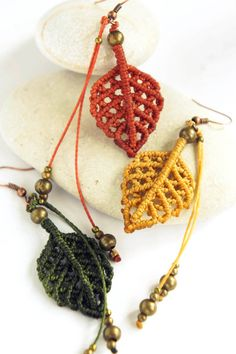 earrings Micro macrame earrings Autumn leaves boho by DancingDakiniWear Macrame Colar, Macrame Earrings, Macrame Jewelry, Macrame Bracelets, Boho Jewelry, Jewelry Crafts, Crochet Earrings, Loom Bracelets, Jewellery
