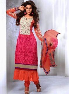 #Enchanting #Pink Chiffon & Crepe Silk Churidar Suit
