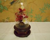 Swiss Colony- Glass Dome, Flowers and Butterfly Music Box