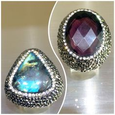 #Wear your #trendsetting ✨ #style on your #hand 🖐 with #statement #rings 💍💍💍 like these #two #gorgeous 😍 #gemstone 💎💎💎  rings that are as #unique as you 💕 #labradorite #marcasite #swarovski #crystal #adjustable #sterlingsilver #statementring #bling #trend