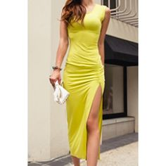 Sexy Scoop Neck Sleeveless Furcal Solid Color Women's Dress