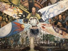 Man Controller of the Universe by Diego Rivera. This mural is located at the Museo del Palacio de Bellas Artes in Mexico City. Diego Rivera, Frida And Diego, Political Art, Jackson Pollock, Modern Artists, Mexican Art, Pablo Picasso, Mexico City, Contemporary Paintings