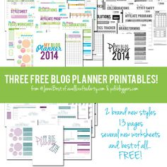 Free Printable Blog Planner 2014 Edition-- Plus 2 New Styles!