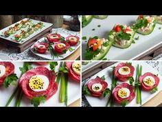 Blooming tomato and stuffed cucumber - a crispy and tasty snack for breakfast Food Decoration, Egg Salad, Antipasto, Party Snacks, Yummy Snacks, Afternoon Tea, Cucumber, Sushi, Appetizers