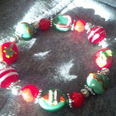 Xmas Red Bracelet by FarringtonBead on Etsy, $13.00