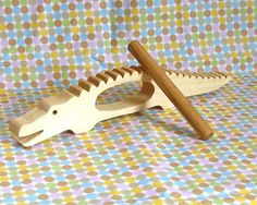Alligator Percussion Instrument Natural Wooden by WeeWoodworks