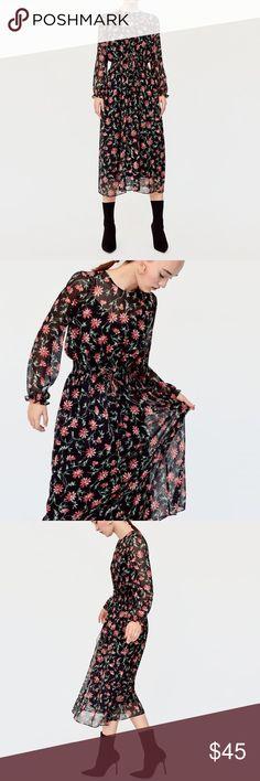 ad626c0604a Zara Long Floral Dress AUTHENTIC ZARA LONG FLORAL PRINT DRESS SIZE LARGE  100% POLYESTER Long